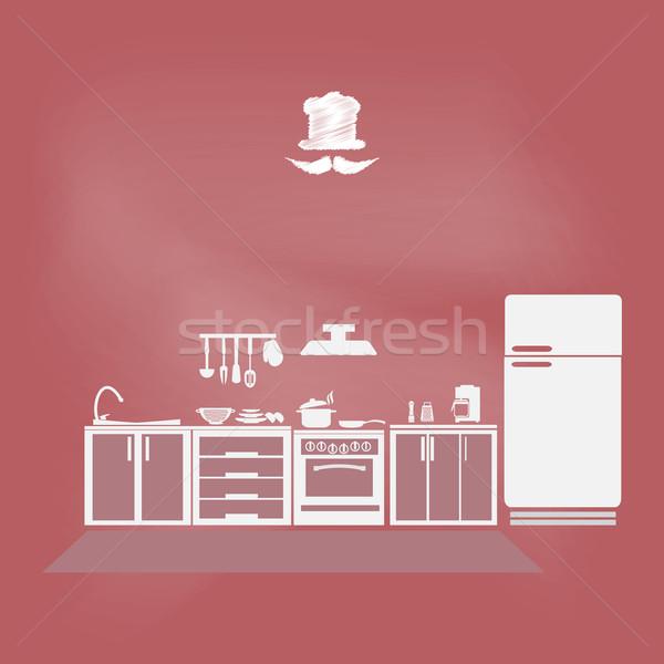 Keuken interieur keuken symbool voedsel boek home Stockfoto © Kheat
