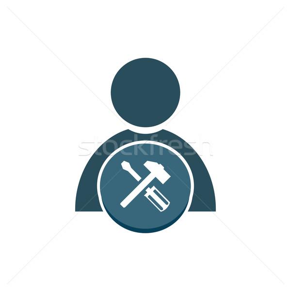 Emberek kalapács csavarhúzó ikon felirat kék Stock fotó © Kheat