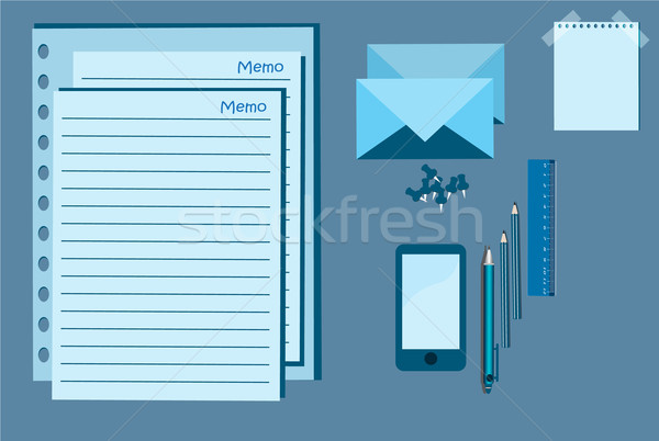 Jegyzettömb mobil toll tő irodaszer kék Stock fotó © Kheat