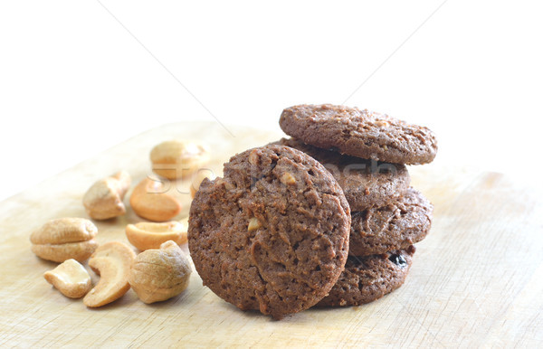 homemade cashew nut and chocolate cookies Stock photo © Kheat