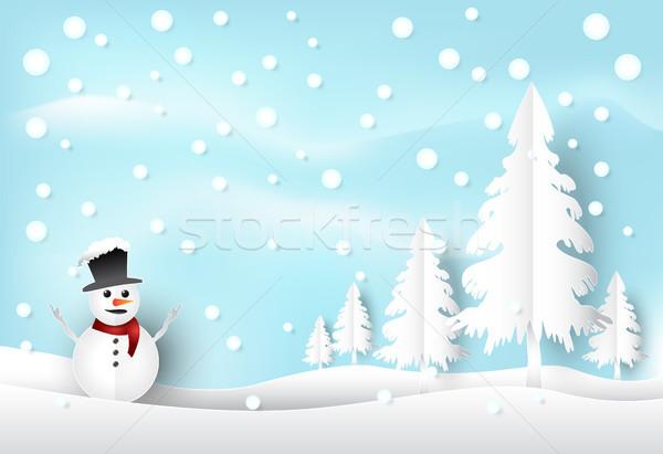 Inverno férias neve boneco de neve blue sky natal Foto stock © Kheat