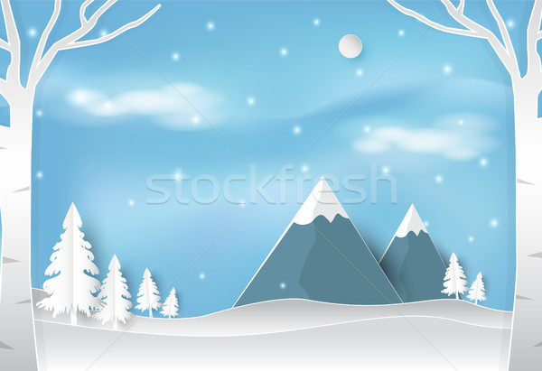 Winter and snow in forest with blue sky landscape nature background Stock photo © Kheat