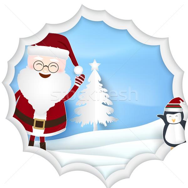 Karácsony évszak mikulás pingvin papír művészet Stock fotó © Kheat