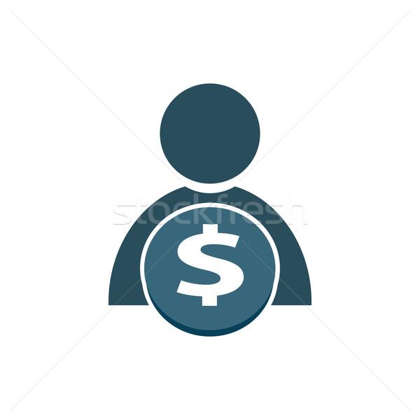 Emberek pénz ikon felirat férfiak kék Stock fotó © Kheat