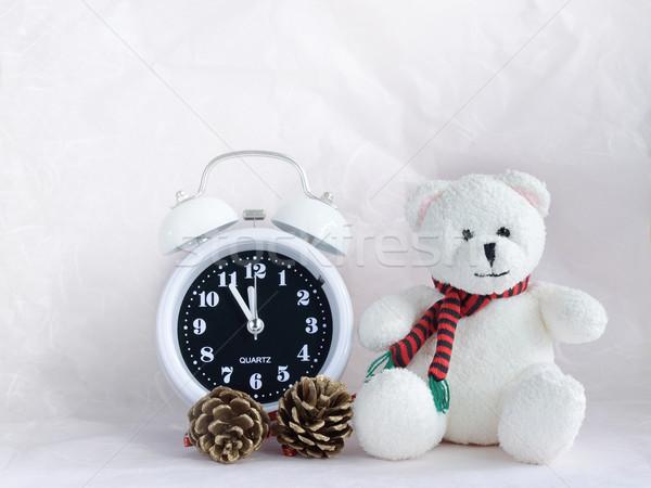 ébresztőóra plüssmaci baba születésnap retro ajándék Stock fotó © Kheat