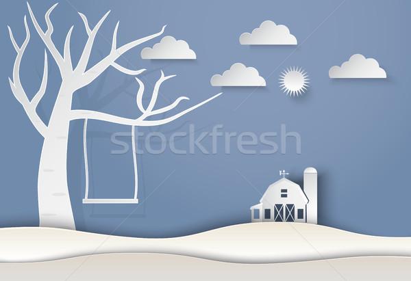Drogen boom swing schuur landschap papier Stockfoto © Kheat