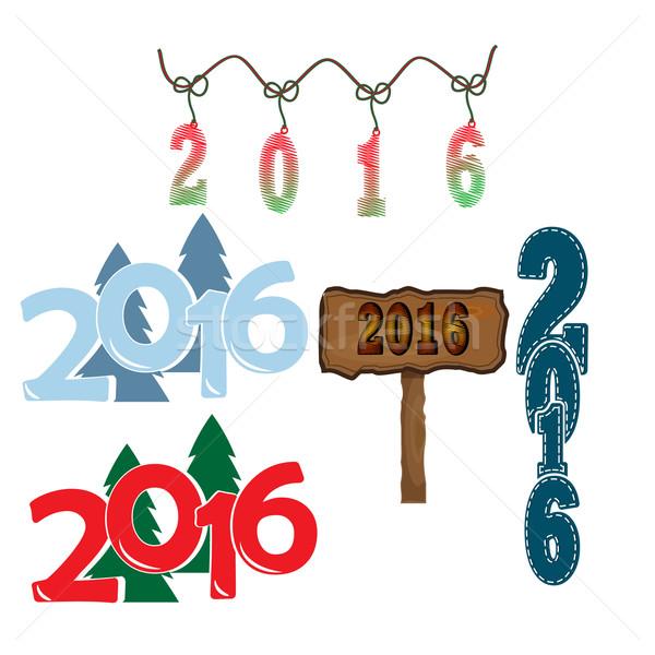 Alegre natal feliz ano novo 2016 ilustração texto Foto stock © Kheat
