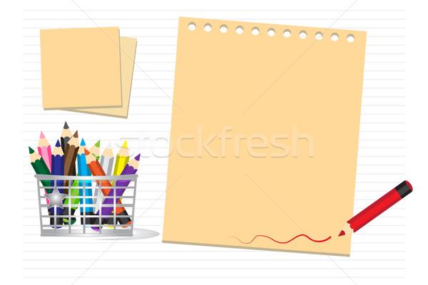 Színes ceruzák papír könyv fa iskola Stock fotó © Kheat