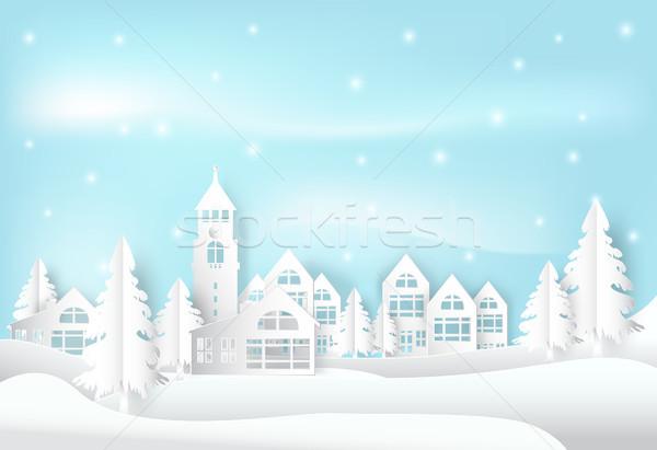 冬 休日 雪 市 町 青空 ストックフォト © Kheat