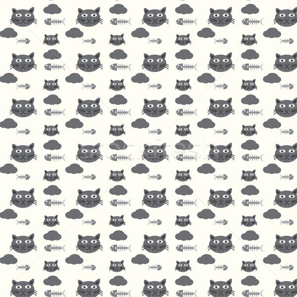 Végtelenített vektor minta macskák terv művészet Stock fotó © Kheat
