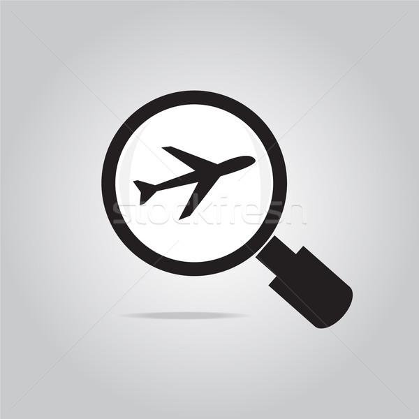 Lupa avião ícone computador óculos silhueta Foto stock © Kheat