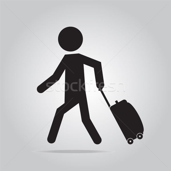 Man bagage illustratie symbool zwarte Stockfoto © Kheat