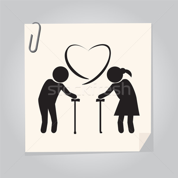 Elderly couple symbol. old people couple illustration Stock photo © Kheat