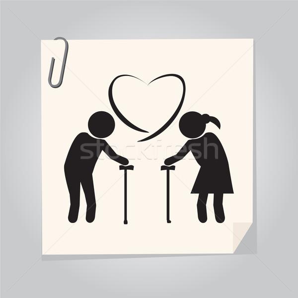 Idoso casal símbolo idosos ilustração ícone Foto stock © Kheat