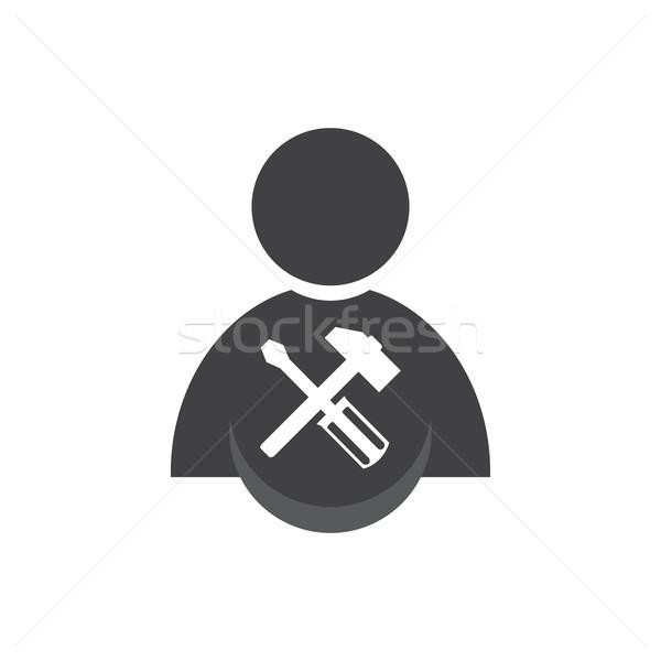 Mensen hamer schroevendraaier icon teken witte Stockfoto © Kheat