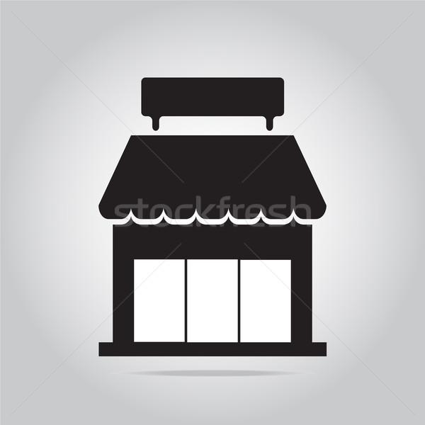 Bolt épület ikon fekete sziluett áruház Stock fotó © Kheat