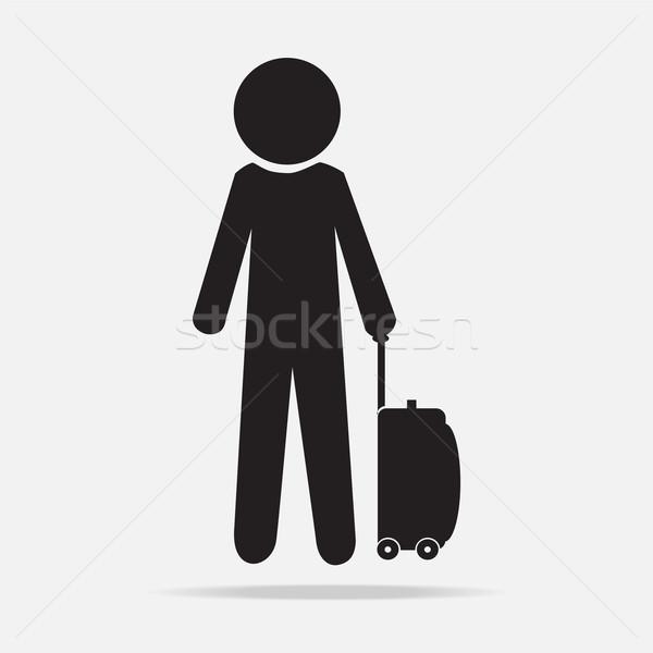 Férfi csomagok szimbólum lány női bőrönd Stock fotó © Kheat