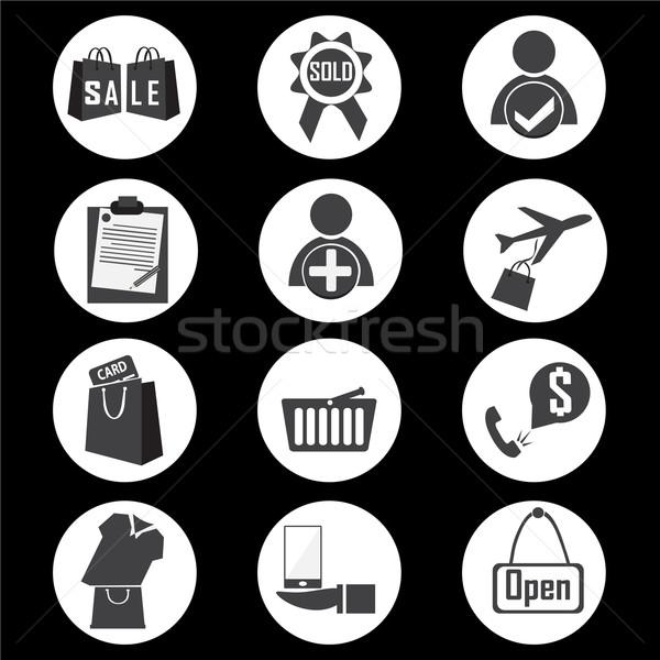 Vásárlás ikon üzlet táska fekete bolt Stock fotó © Kheat