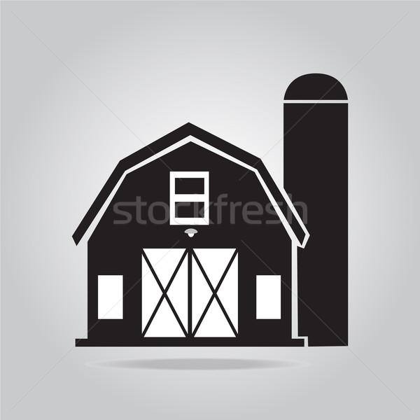 Gebouw schuur icon illustratie boerderij zwarte Stockfoto © Kheat
