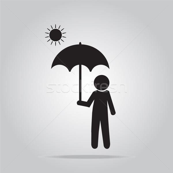 Férfi esernyő napos idő illusztráció felirat segítség Stock fotó © Kheat