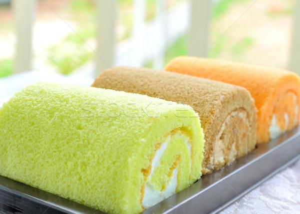 Zsemle torta krém három csokoládé étterem Stock fotó © Kheat