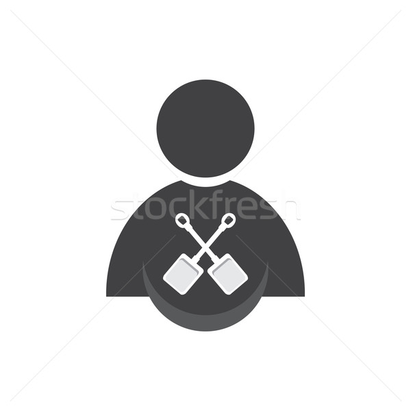 Pessoas pá ícone assinar branco ferramenta Foto stock © Kheat