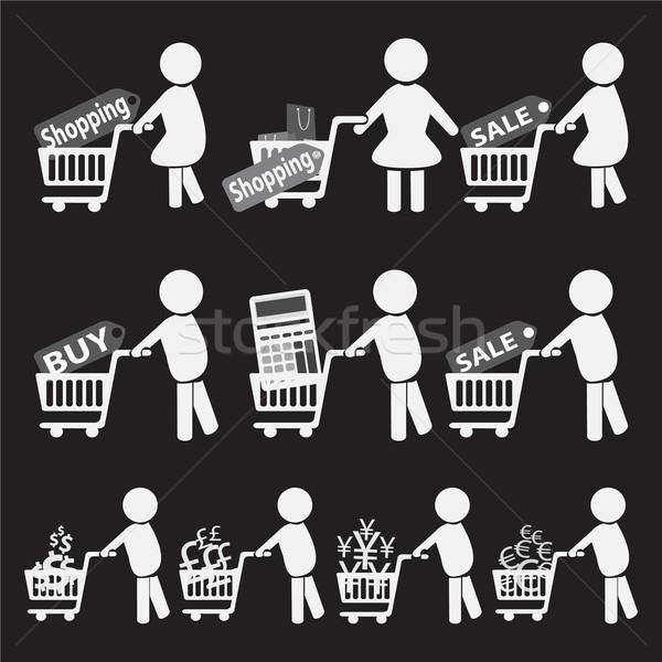 Marketing comércio homens preto cesta Foto stock © Kheat