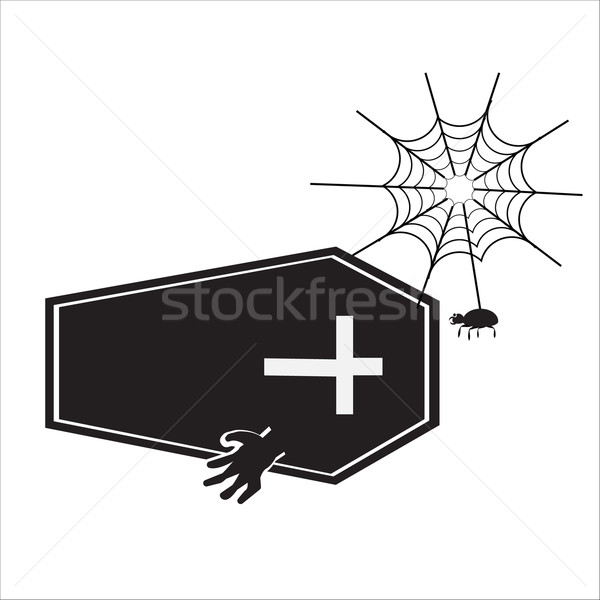 Ghost with casket halloween sign vector illustration Stock photo © Kheat