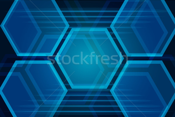Blauw meetkundig abstract achtergrond web desktop Stockfoto © Kheat