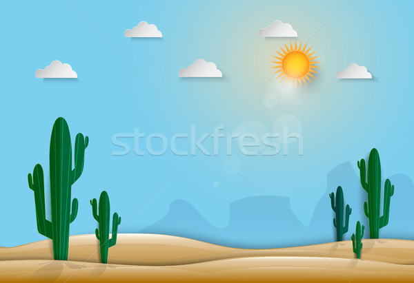 Saguaro Cactus in the desert nature background, paper art style Stock photo © Kheat