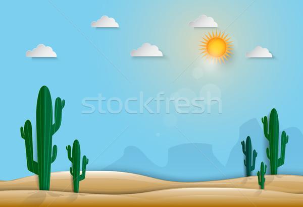 Kaktusz sivatag természet papír művészet stílus Stock fotó © Kheat