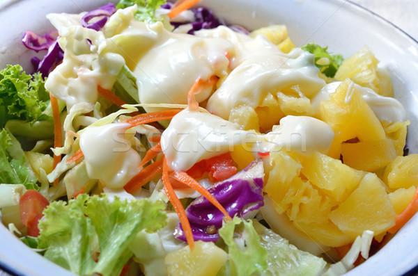 Salada molho para salada comida folha pão jantar Foto stock © Kheat