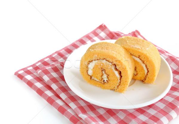 Zsemle torta krém fehér étterem kocka Stock fotó © Kheat
