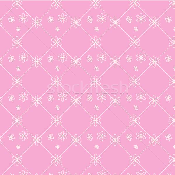 Végtelenített vektor minta virágmintás rózsaszín mértani Stock fotó © Kheat