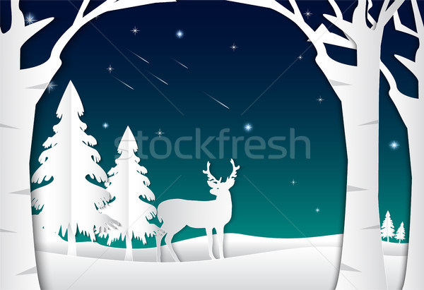 Night sky with star and comet, landscape nature background, paper art style Stock photo © Kheat