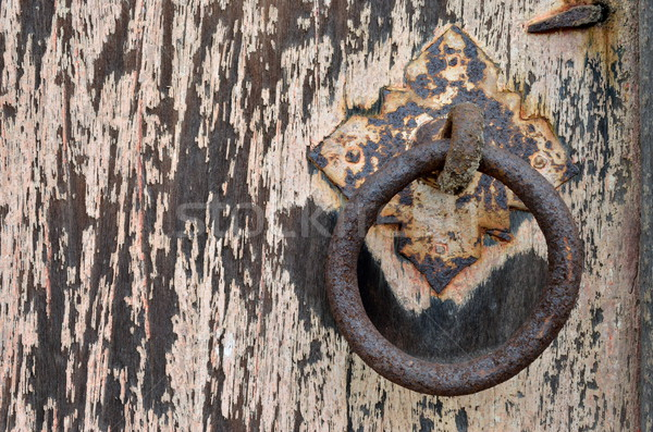 Old door with decay rusty gate latch  Stock photo © Kheat