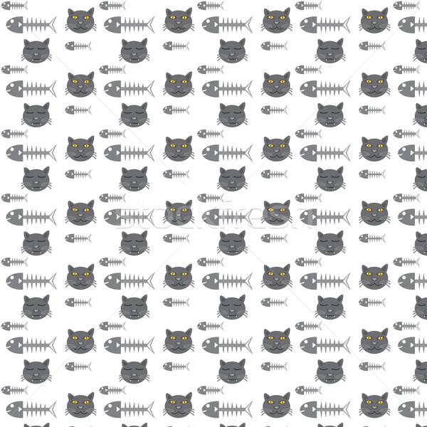 seamless vector pattern cats and fishbone Stock photo © Kheat
