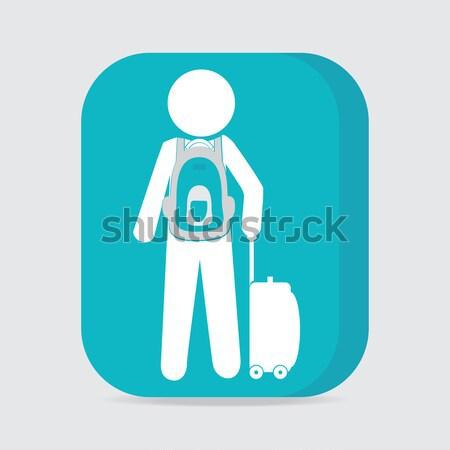男 荷物 リュックサック シンボル 少女 袋 ストックフォト © Kheat