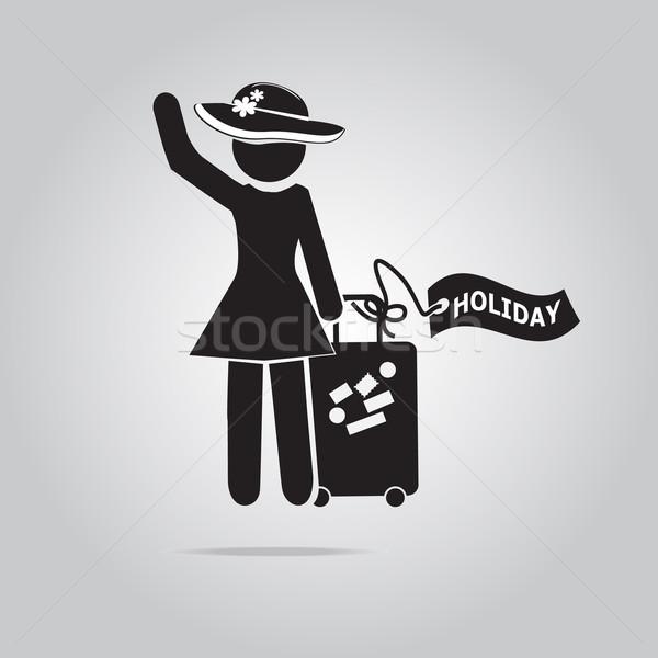 Nő ünnep címke illusztráció csomagok szimbólum Stock fotó © Kheat