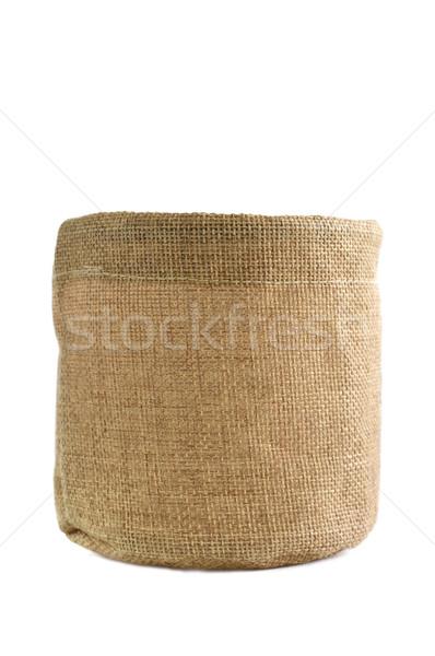 黄麻布 ボックス 孤立した 白 テクスチャ キャンバス ストックフォト © Kheat