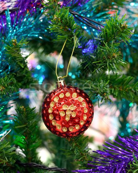 Karácsony dekoráció fa buli háttér zöld Stock fotó © Kheat
