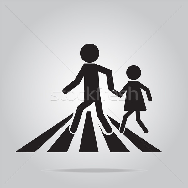 pedestrian crossing sign, school road sign illustration Stock photo © Kheat