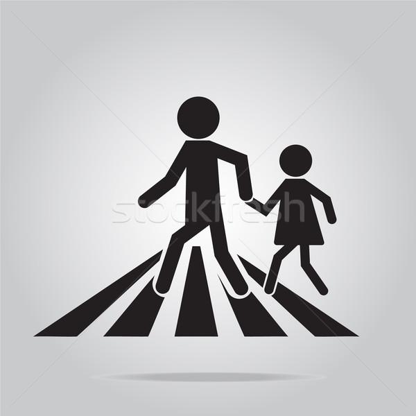 Yaya imzalamak okul yol işareti örnek yol Stok fotoğraf © Kheat