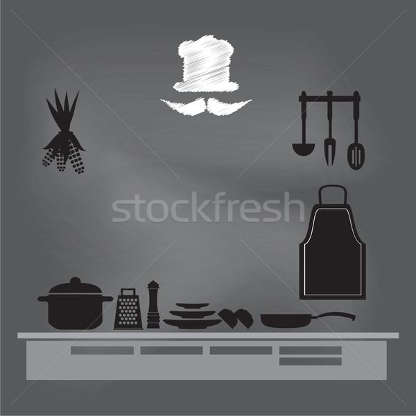 ストックフォト: 台所用品 · にログイン · チョーク · ボード · 料理 · 図書