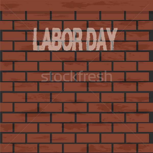 Dia texto parede de tijolos ilustração edifício Foto stock © Kheat