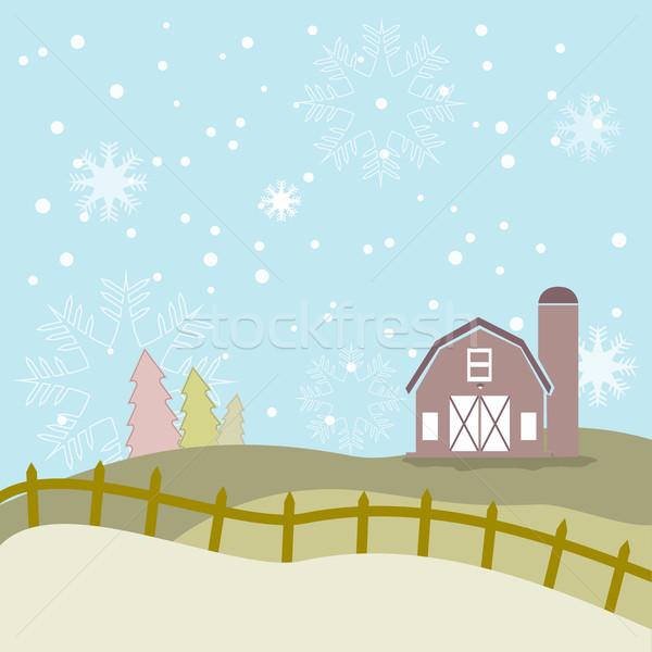 Beautiful season with snowflake and barn background Stock photo © Kheat
