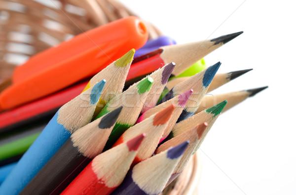 色 鉛筆 孤立した 白 木製 クレヨン ストックフォト © Kheat