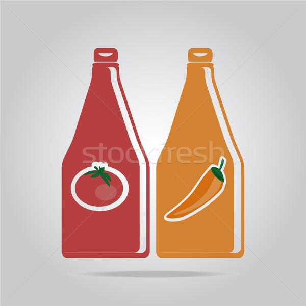 ソース ボトル アイコン ガラス 赤 シルエット ストックフォト © Kheat