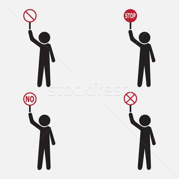 Man with stop tag symbol, set Vector illustration Stock photo © Kheat