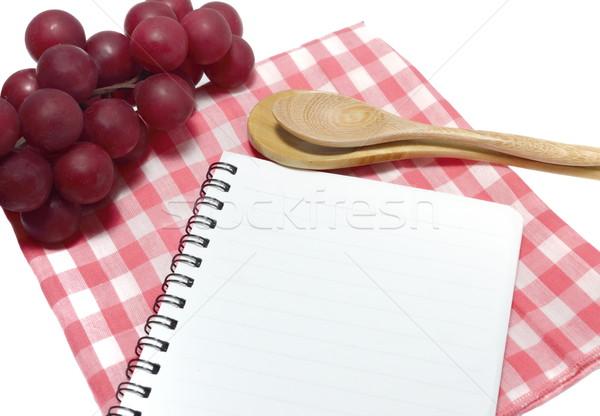 Notebook kanál szalvéta papír könyv főzés Stock fotó © Kheat